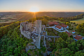 Sunrise at the Wolfstein ruin, Neumarkt in der Oberpfalz, Upper Palatinate, Bavaria, Germany