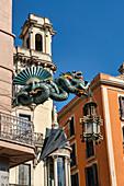 Chinese dragon, Bruno Quadras building, Las Ramblas, Barcelona, Spain