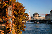 Autumn on the banks of the Spree in Berlin Mitte, Bodemuseum, Alex television tower