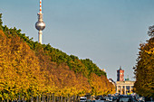 Strasse des 17. Juni, autumnal Tiergarten, Alex, TV tower, Berlin, Germany