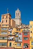 colorful houses on the river Onyar in Girona, Cathedral, Catalonia, Spain