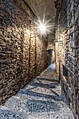 Jewish quarter in Girona, narrow alley, Catalonia, Spain