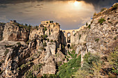 Spain, Andalusia, Malaga Province, Ronda, Puente Nuevo and Canyon del Tajo, El Tajo
