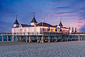 Baskets, pier in Ahlbeck, Baltic Sea island, Usedom, Mecklenburg-Western Pomerania, Germany
