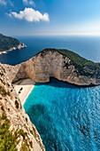Panoramic view of Shipwreck Bay, Zankynthos, Ionian Islands, Greece