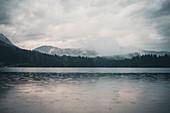 Atmospheric rainy weather at Hintersee, Berchtesgadener Land, Bavaria, Germany