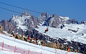 Skiing over Selva with Geisler Group in the background, rocks, snow, mountain, ski slope, chair lift, Val Gardena in winter, Dolomites, South Tyrol, Italy