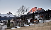 View from Faloria over Cortina d'Ampezzo with Tofana, landscape, mountains, Dolomites, winter in Veneto, Italy