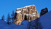 in the ski area above Cortina d'Ampezzo, on the Cinque Torri, Dolomites, snow, rocks, winter in Veneto, Italy