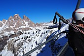 in the ski area under the Cristallo above Cortina d´Ampezzo, ski slope, snow, skier, chair lift, landscape, Dolomites, winter in Veneto, Italy