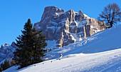 At Monte Pelmo in the ski area Civetta above Alleghe, Dolomiti Superski, Dolomites Veneto, Italy