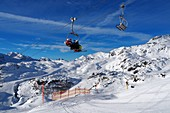 In Obertauern, ski area, pass, snow, sun, ski slopes, skiers, ski lifts, winter in Salzburg, Austria