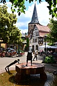 Eberbach im Neckar Valley, fountain, church, half-timbered house, Baden-Württemberg, Germany