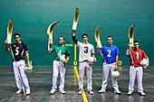Jai Alai, Zesta-Punta (Basket tip), Fronton Atano, Donostia, San Sebastian, Gipuzkoa, Basque Country, Spain, Europe