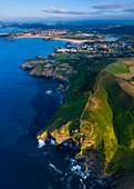 Aerial View, Cabo Quejo, Ecoparque Trasmiera, Arnuero  Municipality, Cantabria, Cantabrian Sea, Spain, Europe