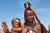 Himba Woman carrying Baby, Damaraland, Namibia