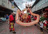 Dragon  and lion dance during Chinese New Year Festival Capgomeh year 2020 15th day of the 1st month at Siniawan, Sarawak, Malaysia