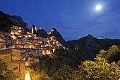Castelmezzano, district of Potenza, Basilicata, Italy, Europe, night view of the picturesque village