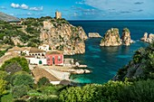 Swimming bay and museum between cliffs, Tonnara of  Scopello, Sicily, Italy, Europe