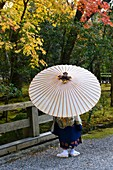 Young boy with an umbrella in Ise jinju, Honshu,Japan,Asia.