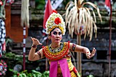 A Female Performer Dancing During A Traditional Balinese Barong and Kris Dance Show, Batabulan, Bali, Indonesia.