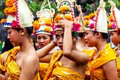 A Group Of Young Balinese Hindu Women At The Batara Turun Kabeh Ceremony, Besakih Temple, Bali, Indonesia.