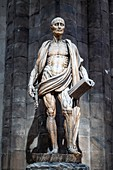 Milan Italy. The interior of the Duomo cathedral. St. Bartholomew Statue by Marco Agrate