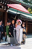 Tokyo Japan. Traditional wedding ceremony at Meiji Jingu Shinto shrine