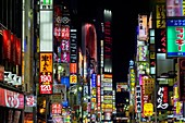 Tokyo Japan. Neon bright lights in Shinjuku district by night