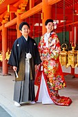 Nara Japan. Wedding ceremony at Yakushi-ji temple