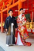 Nara Japan. Wedding ceremony at Yakushi-ji temple
