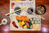 Kyoto, Japan, köstlicher Sashimi Sushi