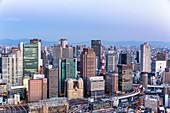 Osaka Japan. Aerial view of the city at dusk
