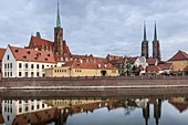 Collegiate Church of the Holy Cross and St Bartholomew and Cathedral of Saint John the Baptist in Ostrow Tumski, oldest part of Wroclaw city, Poland