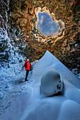 Raufarholshellir Lava Tunnel, Iceland. One of the longest lava tubes short distance from Reykjavik, Iceland
