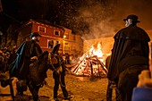 ESTERCUEL TERUEL PROVINCE ARAGON SPAIN ON JANUARY 18, 2020: La Encamisada feast when men rides his horses through the fire in the traditional celebration of Saint Anthony`s day.