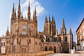 The Cathedral of Saint Mary of Burgos. View from Fernán González street, first facade of the Condestable chapel and the Cimborrio. Burgos, Castile and Leon, Spain, Europe