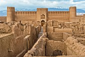 Ruins, towers and walls of Rayen Citadel, Biggest adobe building in the world, Kerman Province, Iran