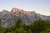 Abendstimmung im Almtal, Blick auf Elferkogel, Zwölferkogel, Einserkogel, Oberösterreich, Österreich