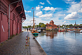 Trave river and swing bridge at Hansekai in Luebeck, Schleswig-Holstein, Germany