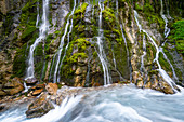 Creeks and rinsals find their way down the steep slopes of the Wimbachklamm, Berchtesgadener Land, Bavaria, Germany