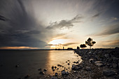 Sunset at the lighthouse in Podersdorf, Burgenland, Austria.