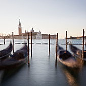Morning mood at St. Mark's Square with a view of San Giorgio, Venice, Italy.