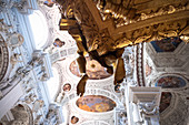 View of the ceiling frescoes in St. Stephen's Cathedral, in the foreground a piece of the golden pulpit, Passau, Lower Bavaria, Bavaria, Germany, Europe