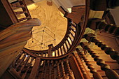 Carved spiral staircase in the great water tower, Augsburg, Swabia, Bavaria, Germany