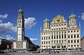 Rathausplatz with Perlach Tower and Town Hall, Augsburg, Swabia, Bavaria, Germany