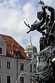 Fountain figures of the Augustusbrunnen, Rathausplatz, Augsburg, Swabia, Bavaria, Germany