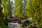 Waterfall and rocks in the forest, Ramsele, Västernorrland, Sweden