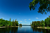 Big lake with forest on a beautiful summer day, Femsjö, Halland, Sweden