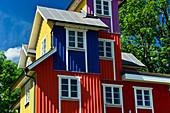 Colorful wooden villa near Gånghester, Västergötland, Sweden